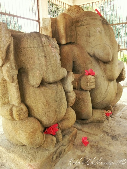 The Twin Ganeshas at Barsur - the only known Ganesha idols to be found in the warrior avatar.