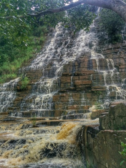 One of my favourite shots of the entire trip! A part of the Teerathgarh Falls.